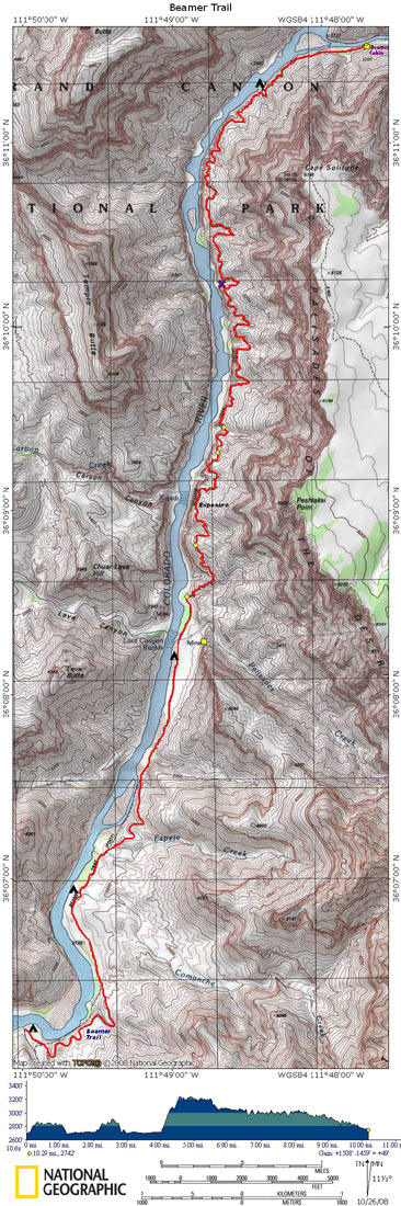 Map of Beamer Trail with Elevation Profile