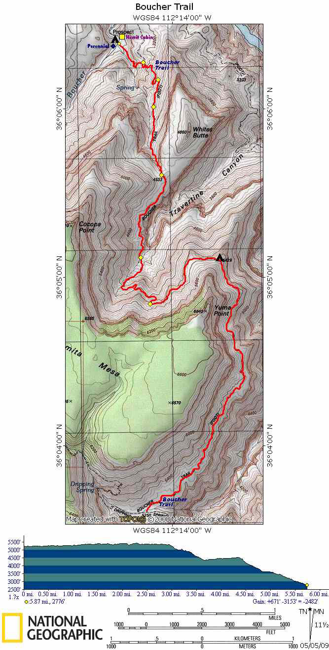 Map of Boucher Trail with Elevation Profile