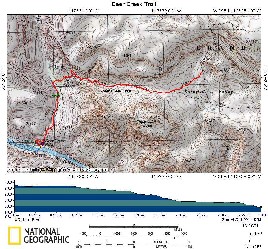 Map of Deer Creek Trail with Elevation Profile