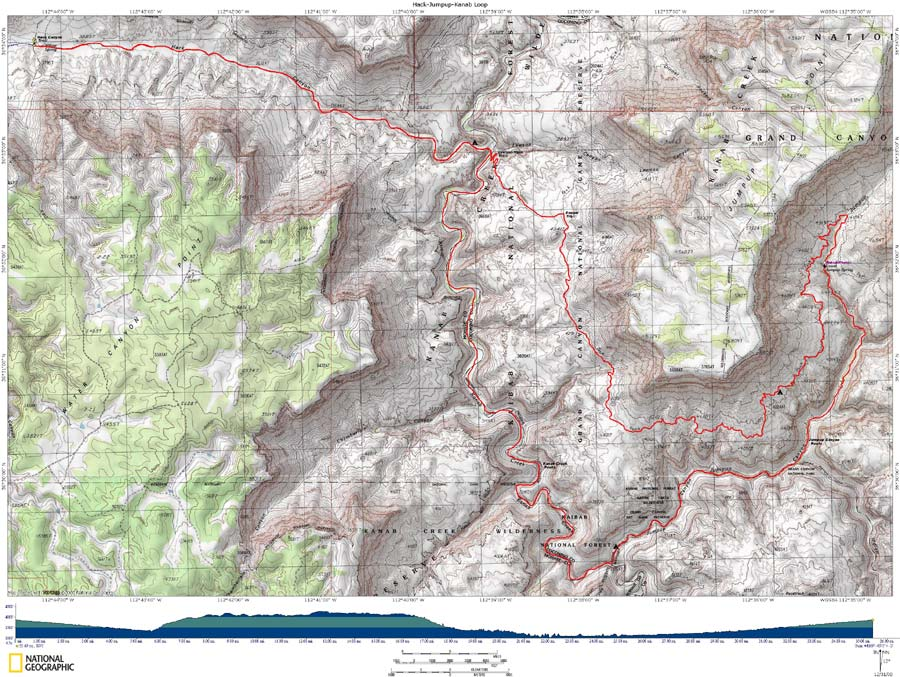 Map of Hack-Jumpup-Kanab Loop with Elevation Profile