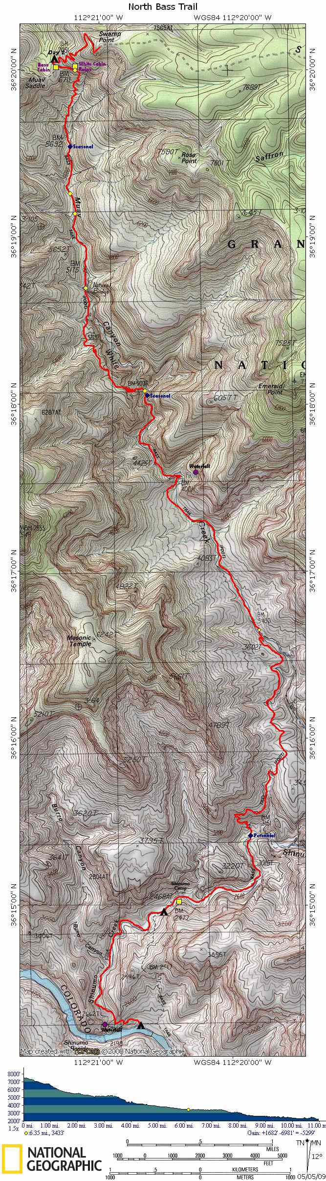 Map of North Bass Trail with Elevation Profile