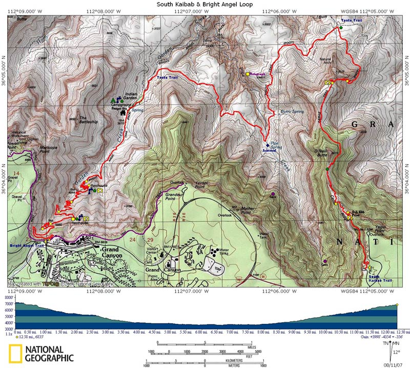 Map of South Kaibab & Bright Angel Loop with Elevation Profile