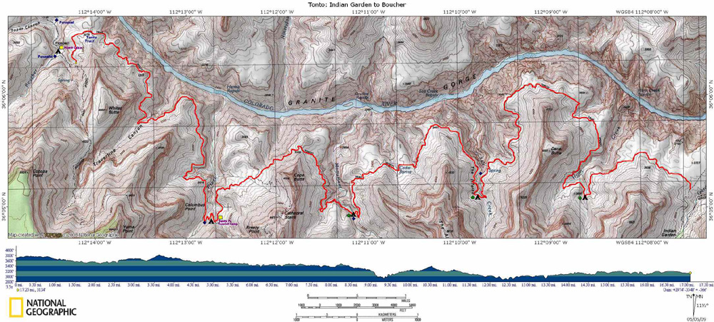 Map of Tonto Trail from Indian Garden to Boucher with Elevation Profile
