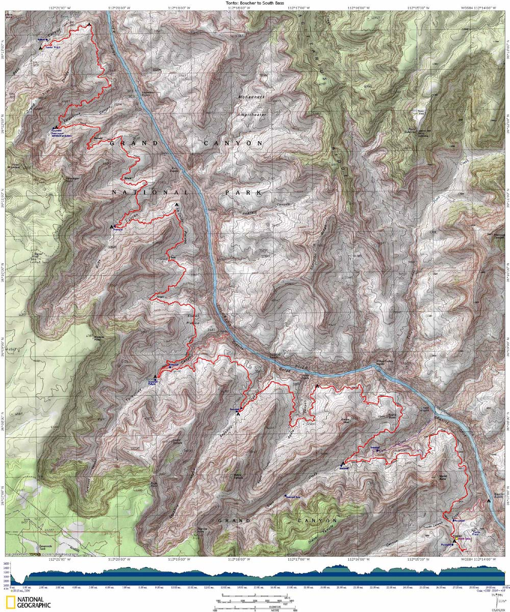 Map of Tonto Trail from Boucher to South Bass with Elevation Profile