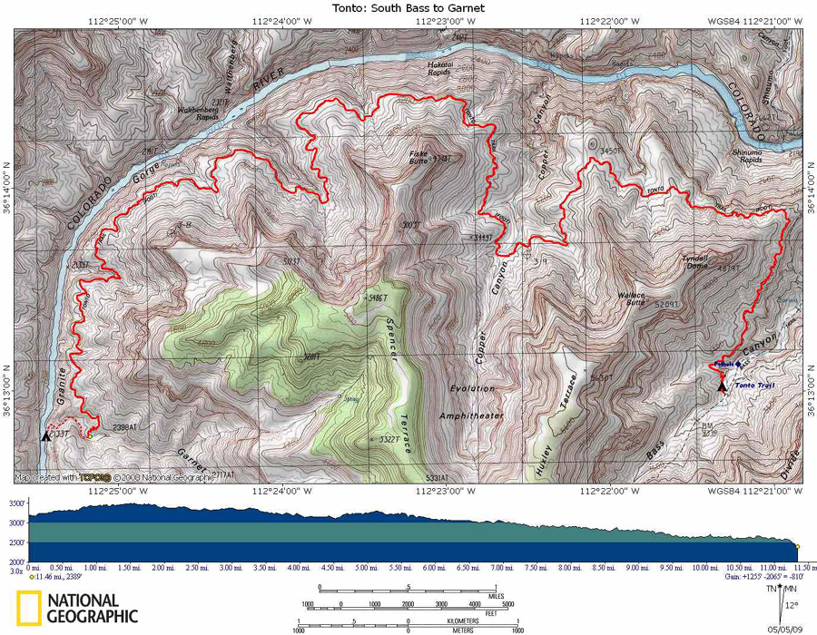 Map of Tonto Trail from South Bass to Garnet Canyon with Elevation Profile